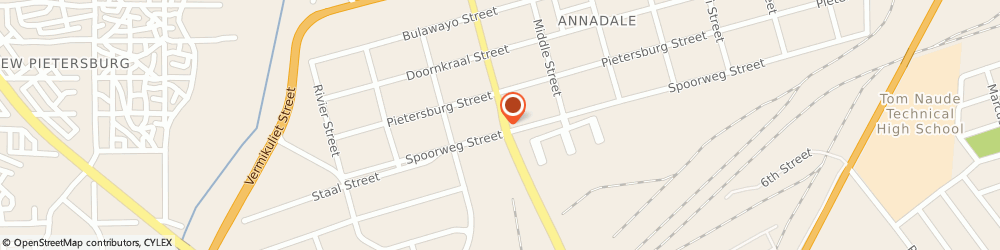 Route/map/directions to Parks-Med Pharmacy, 0700 Pietersburg, 13 Church St