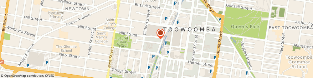 Route/map/directions to Ultra Tune TOOWOOMBA CITY, 4350 Toowoomba City, 10 Hill St