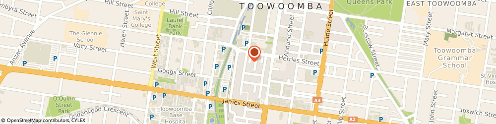 Route/map/directions to Pedders Suspension Toowoomba City, 4350 Toowoomba City, 8 Wylie Street