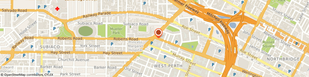 Route/map/directions to mycar CE West Perth, 6005 West Perth, Corner Of Thomas Street, and Wellington Street