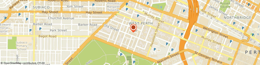Route/map/directions to Perth Eye Centre, 6005 West Perth, 42 Ord Street