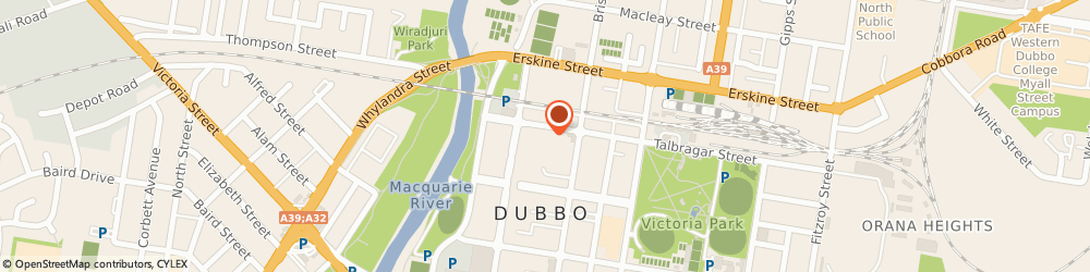 Route/map/directions to The Wedding Shoppe Event Hire, 2830 Dubbo, 47-51 Talbragar Street
