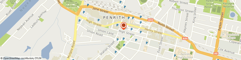 Route/map/directions to Penrith Natural Massage Clinic, 2750 Penrith, Suite 15 / 513 High Street
