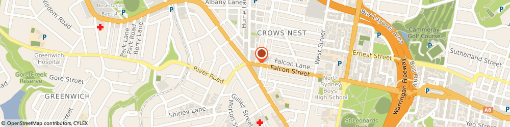 Route/map/directions to Lees Fortuna Court Chinese Restaurant, 2065 St Leonards, 24-26 Falcon St