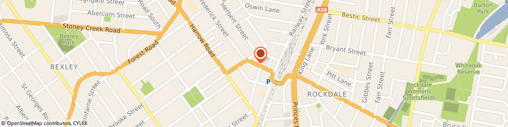 Route/map/directions to St George Rockdale Squash Courts, 2216 Rockdale, 44 FREDERICK STREET