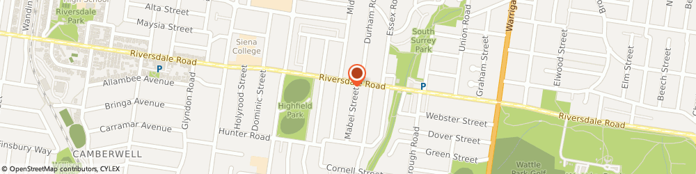 Route/map/directions to Highfield Park Medical Centre, 3124 Camberwell, 872 Riversdale Rd