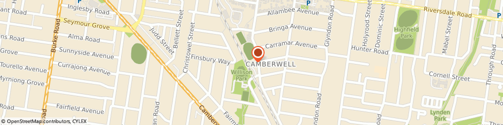 Route/map/directions to Frog Hollow Reserve, 3124 Camberwell, 25 Fordham Ave
