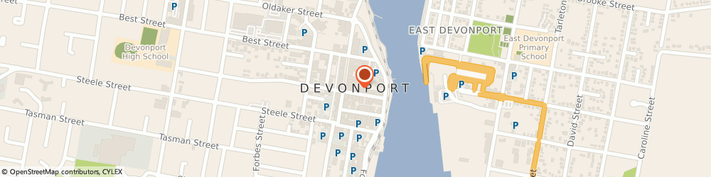 Route/map/directions to Camera House, 7310 Devonport, 24 Stewart Street