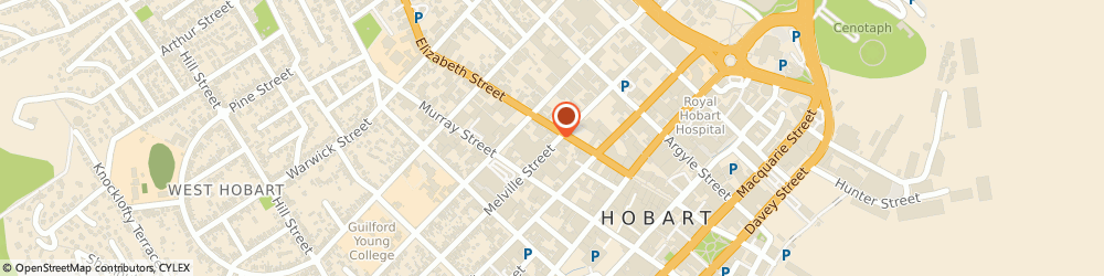 Route/map/directions to Ken Self Cycles, 7000 Hobart, 124 ELIZABETH STREET