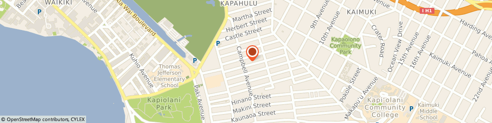 Route/map/directions to Kumon Waikiki, 96816 Honolulu, Kapahulu Senior Center, 3410 Campbell Avenue
