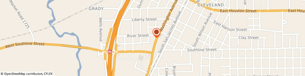 Route/map/directions to Pizza Hut, 77327 Cleveland, 502 S. Washington Ave.