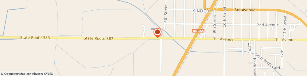 Route/map/directions to U-Haul Co., 70648 Kinder, 305 1ST AVE