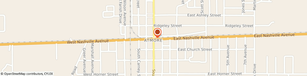 Route/map/directions to Radio Shack, 36502 Atmore, 112 S MAIN ST