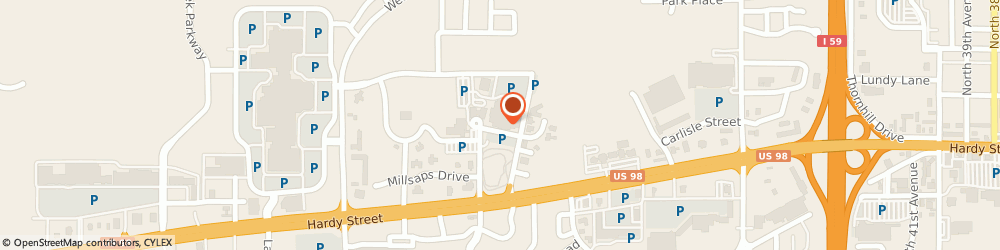 Route/map/directions to Merit Health Wesley, 39402 Hattiesburg, 5001 Hardy Street