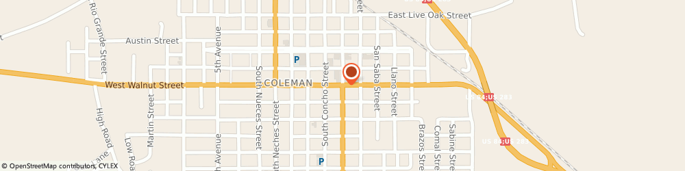 Route/map/directions to CITIBANK ATM, 76834 Coleman, 501 S. Commercial Ave