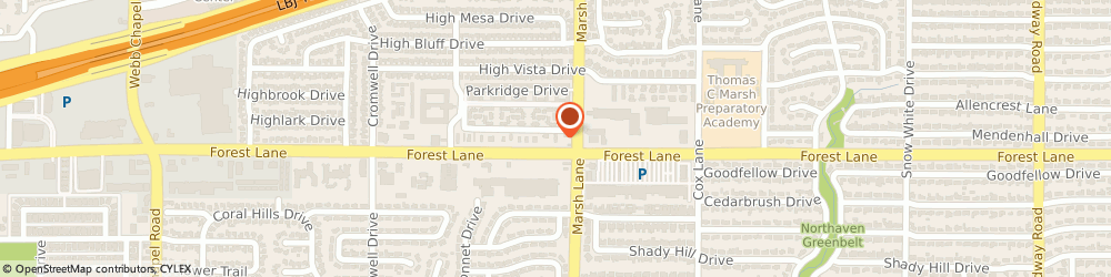 Route/map/directions to KFC, 75234 Dallas, 3633 Forest Lane