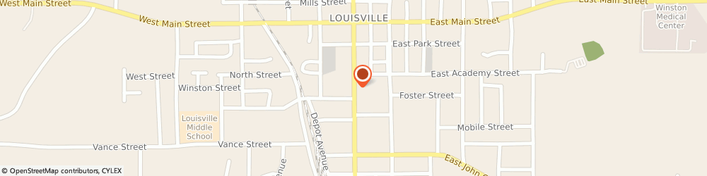 Route/map/directions to U-Haul Co., 39339 Louisville, 316 S CHURCH AVE