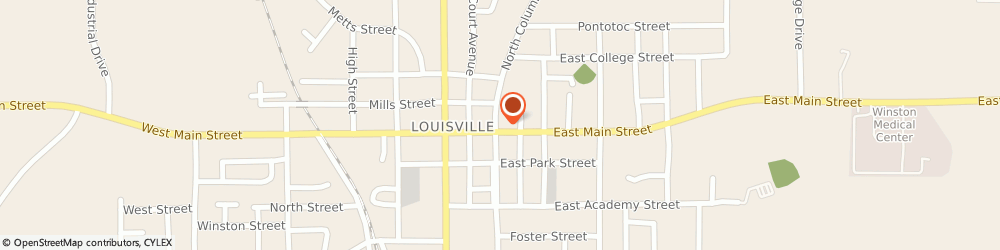Route/map/directions to United States Postal Service, 39339 Louisville, 16605 E Main St