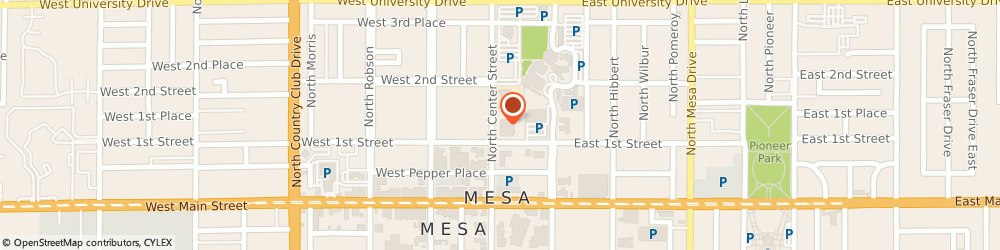 Route/map/directions to United States Postal Service, 85201 Mesa, 135 N Center St