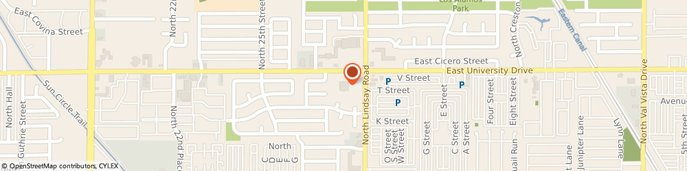 Route/map/directions to United States Postal Service, 85213 Mesa, 2747 E University Dr