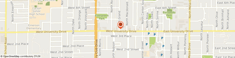 Route/map/directions to Moretsky Cassidy Laser Vision Correction, 85201 Mesa, 160 WEST UNIVERSITY DRIVE SUITE 1