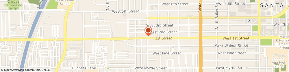 Route/map/directions to Martha Tires & Wheels, 92703 Santa Ana, 1805 WEST 1ST STREET