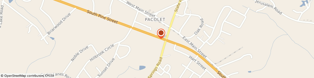 Route/map/directions to Pacolet United Methodist Church, 29372 Pacolet, 7060 SOUTH PINE STREET