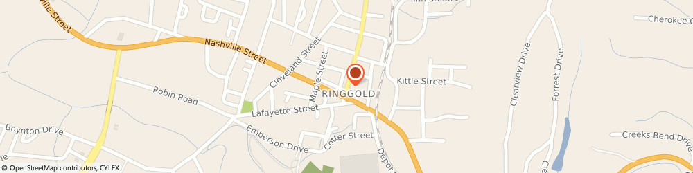 Route/map/directions to Ringgold City Public Works, 30736 Ringgold, 150 TENNESSEE ST