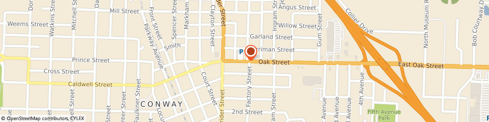 Route/map/directions to ROBERT JR TIRE & AUTO, 72032 Conway, 708 Oak St