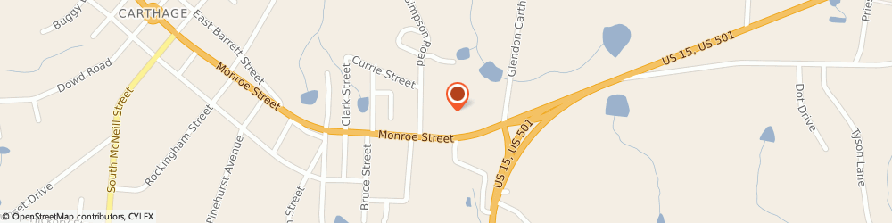 Route/map/directions to Food Lion, 28327 Carthage, 1005 Monroe St
