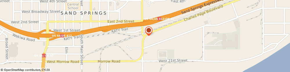 Route/map/directions to Arvest Bank, 74063 Sand Springs, 600 E Charles Page Blvd