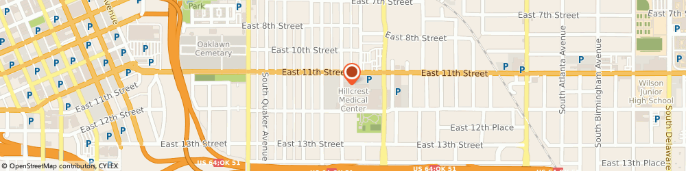 Route/map/directions to Hillcrest Specialty Hospital, 74120 Tulsa, 1125 SOUTH TRENTON AVENUE