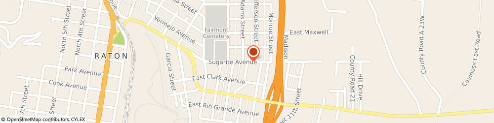 Route/map/directions to Church Of God Of Prophecy, 87740 Raton, 100 East 7Th Street