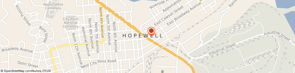 Route/map/directions to Alcoholics Anonymous, 23860 Hopewell, 205 E Broadway