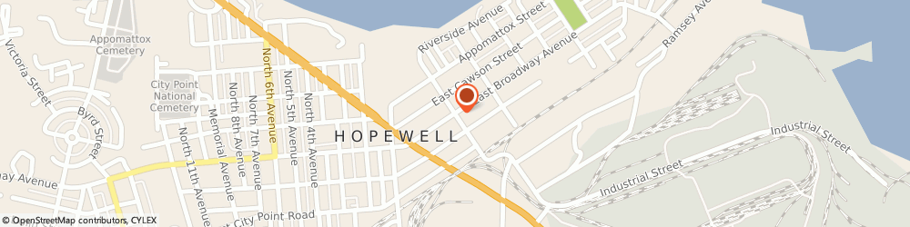 Route/map/directions to Broadway Express, 23860 Hopewell, 300 E Broadway
