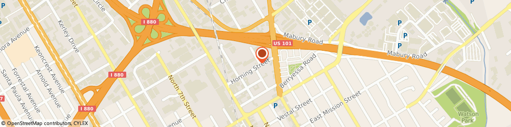 Route/map/directions to Penske Truck Rental, 95112 San Jose, 575 Horning St
