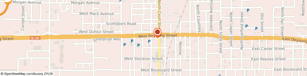 Route/map/directions to Futiva Hosted Communications, 62959 Marion, 805 W DeYoung St