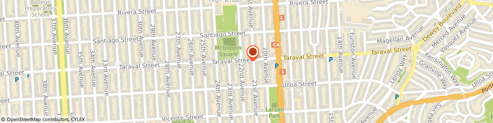 Route/map/directions to Cosmic Computer, 94116 San Francisco, 1133 Taraval