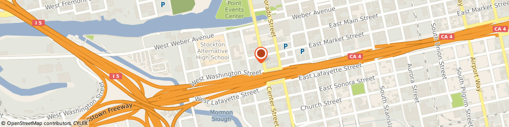 Route/map/directions to Greyhound Package Express, 95202 Stockton, 121 SOUTH CENTER STREET