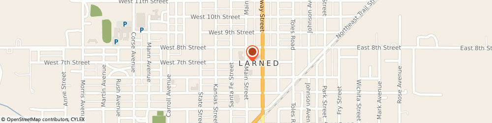 Route/map/directions to United Methodist Church, 67550 Larned, 701 MAIN STREET