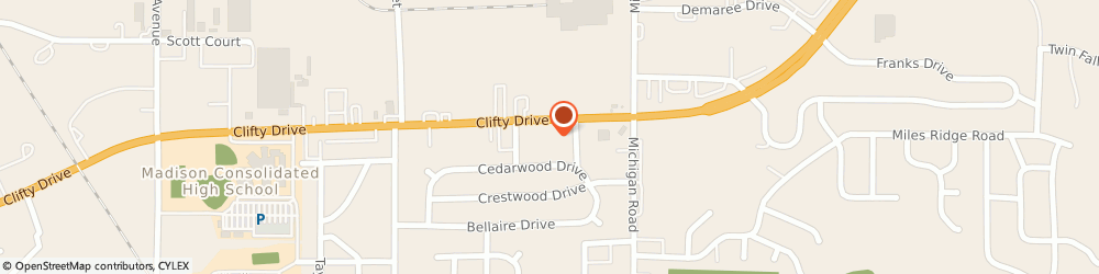 Route/map/directions to Big O Tires, 47250 Madison, 215 Clifty Dr