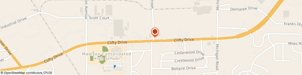 Route/map/directions to Cvs Pharmacy, 47250 Madison, 500 CLIFTY DR