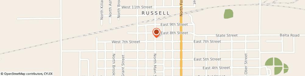 Route/map/directions to Gregwire Drug Store, 67665 Russell, 714 North Main Street