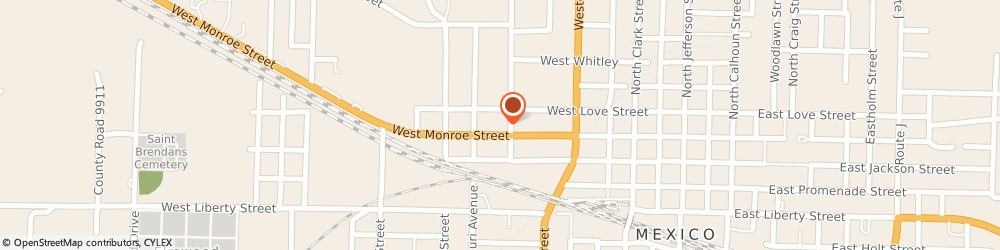 Route/map/directions to Pizza Hut, 65265 Mexico, 707 W Monroe St