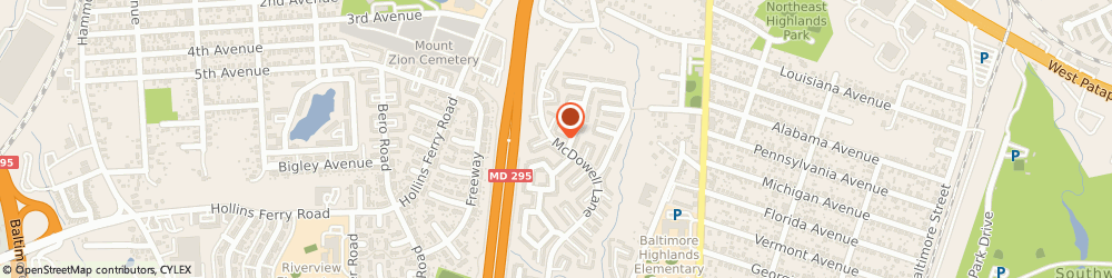 Route/map/directions to Highland Village Townhomes, 21227 Halethorpe, 3953 McDowell Ln