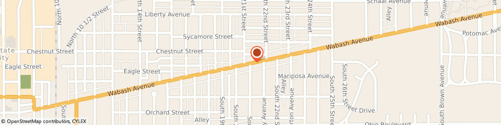 Route/map/directions to Notable Productions, 47807 Terre Haute, 2116 WABASH AVENUE