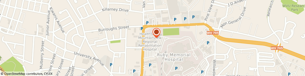 Route/map/directions to Encompass Health Rehabilitation Hospital of Morgantown, 26505 Morgantown, 1160 Van Voorhis Rd.