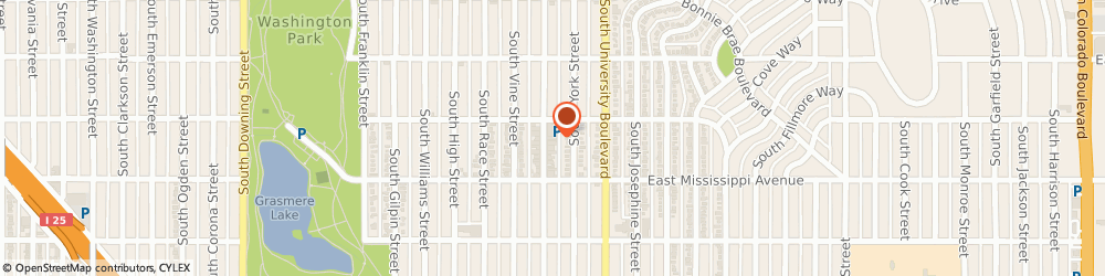 Route/map/directions to Charcoal Bistro Wash Park, 80209 Denver, 1028 South Gaylord Street