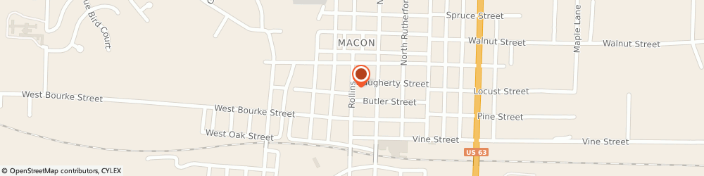 Route/map/directions to US BANK, 63552 Macon, 318 NORTH ROLLINS STREET
