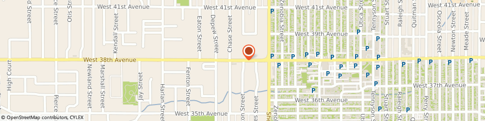 Route/map/directions to Pyramid Sound Productions, 80212 Wheat Ridge, 5817 W 38th Ave